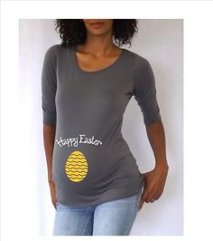 Funnycute maternity Shirt Happy Easter with by DJammarMaternity, $26.99