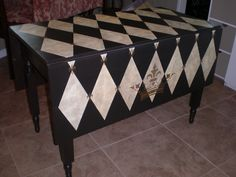 Old Drop Leaf Table Painted and Stenciled