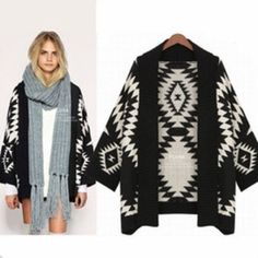 geometric print boho style cardigan in Sz S Black and white geometric print cardigan in Sz small. Length 28 in. In excellent condition. Sweaters Cardigans