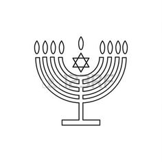 Menorah hanukkah icon. Jewish Holiday symbol menorah - light candelabra with candles silhouette isolated on white background. Flat web sign, Israel Holiday symbol, line concept logo, label - illustration.
