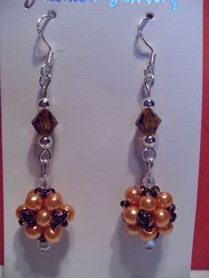 Orange Beaded Earrings by SparklingJewelryShop on Etsy, $10.00