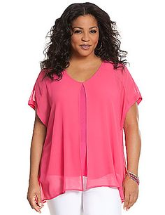 Unique layered-look top pairs a soft knit tank with an attached chiffon flyaway tee. A versatile favorite for dressing up or down, with a flattering V-neck for a feminine fit. Short sleeves. lanebryant.com