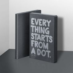 Kandinsky summarised it perfectly: everything starts from a dot. Notebook bound in black smooth bonded leather with silver screen print. Diy Notebook, Recycled Leather, Bonded Leather, Silk Screen Printing, Red Dots, I Am Happy, Everything, Bullet Journal, How To Plan