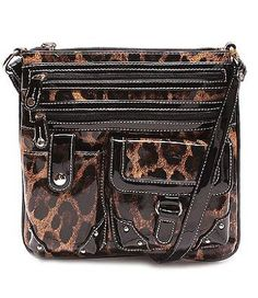 Amazon.com: BLING leopard Studded Faux Patent Leather Cross Body Messenger bag by Jersey Bling: Shoes