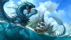 Mythical Water Dragons - wallpaper.