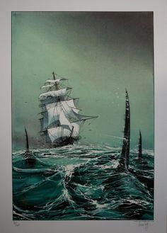 Emmanuel Lepage : Voilier aux orques+ technique peinture mer