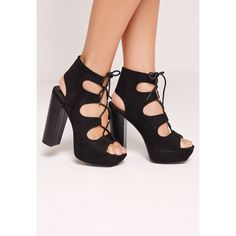 ba35bf5e520 Missguided Lace Up 70 s Platform Sandals (£49) ❤ liked on Polyvore  featuring shoes