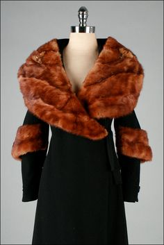 Vintage 1930s Coat . Black Wool . Mink Fur . XS S . 2731. $845.00, via Etsy.