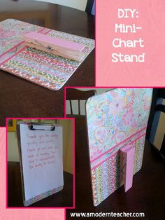 Good for displaying instructions for stations or parent welcome signs. A Modern Teacher: Make It Work Wednesday: DIY Mini-Chart Stand Classroom Freebies, School Classroom, Future Classroom, Classroom Activities, Classroom Design, Classroom Decor, Teacher Appreciation Gifts, Teacher Gifts, Teacher Stuff