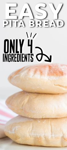 FOUR Ingredient Pita Bread Did you know you can make homemade pita bread with just four ingredients that you likely have in your pantry? So easy! Homemade Pita Bread, Pita Bread Recipes, Lebanese Pita Bread Recipe, Homemade Food, Baking Recipes, Dessert Recipes, Vegan Recipes, Desserts, Easy Bread