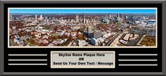 Atlanta Georgia US Skyline Panoramic Comes With 1 1/2 Inch Black Leather Frame & Large Name Plaque- Large Framed Picture - Awesome and Beautiful! This Is a Must for Any Home or Office Decor!
