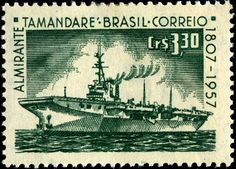 Engraved stamp depicting an aircraft carrier, issued by Brazil on March 7, 1958 to commemorate the 150th anniversary of the birth of Admiral Tamandaré (1807-1897), whose dedication and heroism made him the patron of the Brazilian Navy, Scott No. 1857, SG No. 970.