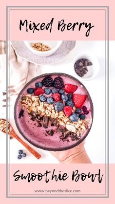 Make your smoothie more exciting by making it into a smoothie bowl! This Mixed Berry Smoothie Bowl Recipe is easy healthy and delicious! This is a nice-cream consistency to give your smoothie game a step-up! I can have this everyday! Mixed Berry Smoothie, Berry Smoothie Recipe, Smoothie Recipes, Mix Berry, Berry Berry, Blender Recipes, Acai Bowl Recipe Video, Acai Bowl Recipes Healthy, Healthy Protein
