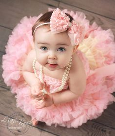 Peachy Pink Zig Zag Ruffled Hair Bow Headband Light Baby Peachy Pink Shabby Chic Pearls Boutique Photography Prop Fits Babies Toddlers Girls. $10.99, via Etsy.
