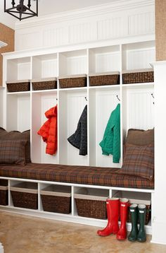 It's Time for a Mudroom Remodel Interior Design Living Room, Living Room Designs, Living Spaces, Built In Bench, Wainscoting, Mudroom, Home Projects, My Dream Home, Storage Spaces