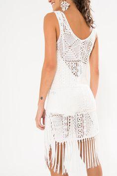 vestido franja abertura lateral