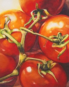 """Daily Paintworks - """"On The Vine"""" - Original Fine Art for Sale - © Kara K. Painting & Drawing, Watercolor Paintings, Watercolors, Vegetable Painting, Watercolor Fruit, Fruit Painting, Still Life Art, Fruit Art, Fine Art Gallery"""