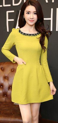 Square pattern long sleeve dress with diamond neckline YRB0651