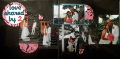 """Love Shared by 2"" Wedding Scrapbook LO.  Hidden journaling behind landscape photo."