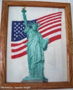 Liberty 911 Memorial - cross stitch pattern designed by Marv Schier. Cross Stitch Boards, Cross Stitch Alphabet, Counted Cross Stitch Patterns, Cross Stitch Designs, Crewel Embroidery, Cross Stitch Embroidery, Patriotic Images, 911 Memorial, Cross Stitch Freebies