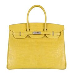 Hermes 35CM Birkin Mimosa Matte Alligator Palladium JaneFinds | From a collection of rare vintage top handle bags at https://www.1stdibs.com/fashion/handbags-purses-bags/top-handle-bags/