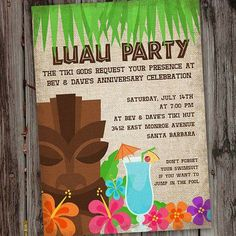 hawaiian luau party Start your Aloha Party off in style with this Hawaiian Luau Party Invitation which a fun, colorful feel. This tropical PRINTABLE party Invitation can be customiz Hawaiian Invitations, Free Printable Party Invitations, Birthday Party Invitation Wording, Luau Party Invitations, Invite, Wedding Invitation, Birthday Template, Hawaiian Luau, Hawaiian Birthday