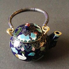 Chinese Vintage Cloisonne Tea Pot Teapot Bronze Brass Copper Enamel Handmade