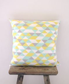 Cushion Cover Pastel Geometric Triangle Print by NeonVintageDesign