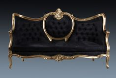 Tete a tete sofa in Gold and Black
