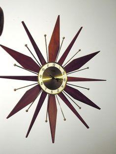 Vintage Forestville Teak & Brass Mid-Century Modern Sunburt Starburst Wall Clock