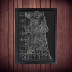 1944 denver street map vintage blueprint print poster house 2014 1857 vintage chicago map 18x24 black print poster malvernweather Gallery