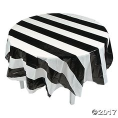 Inspirational Plastic Black and White Checkered Tablecloth