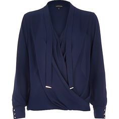 Navy long sleeve pussybow wrap blouse - blouses / shirts - tops - women