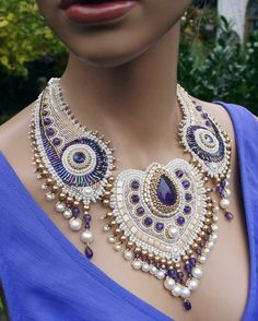 """""""White Peakock"""" - bead embroidery necklace with amethyst,. Best Picture For Beaded Embroidery neck Bead Embroidery Jewelry, Soutache Jewelry, Beaded Embroidery, Beaded Jewelry, Handmade Jewelry, Beaded Necklace, Necklaces, Jewellery, Peacock Necklace"""