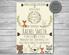 This adorable Woodland Invitation is perfect for Woodland theme Baby shower! ► Invitation will be personalized and emailed to your ETSY ema Invitation Baby Shower, Welcome Baby Banner, Forest Baby Showers, Wishes For Baby Cards, Baby Shower Invitaciones, Shower Bebe, Baby Banners, Rustic Baby, Baby Shower Themes