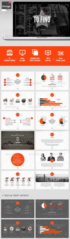 Buy TheVintage Powerpoint Template by improvepresentation on GraphicRiver. The Vintage Powerpoint Template 31 SLIDES Of pure vintageness delivered in bright and dark flavors which you can cust. Slide Presentation, Presentation Design, Presentation Templates, Company Presentation, Professional Presentation, Creative Powerpoint Presentations, Keynote Design, Web Design, Pitch Deck