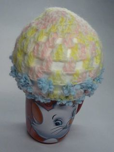 Pink and Yellow Hat with Blue Speciality Yarn   $15.99