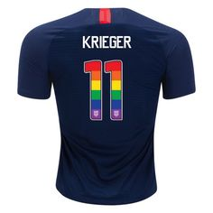 2018 2019 Men s Ali Krieger Navy Blue USA Jersey Rainbow Numbers Soccer  City b21cdaf6e