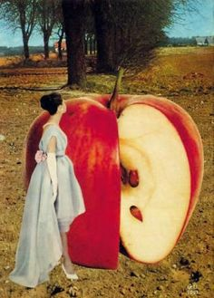 """(Georges Hugnet (1904 -1974) Untitled, 1961  Collage) """"In art Venus herself is sometimes pictured with an apple or some other fruit, not only because the fruit may look like the sex organs but because sex itself is intimately connected to nature's bounty."""" ~ Thomas Moore, The Soul of Sex"""