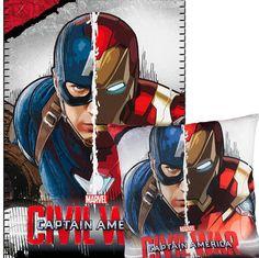 Set manta más cojín Capitán América: Civil War  Un original regalo que les encantara a todos sus seguidores el poder conseguir este set de manta más cojín con la imagen de Capitán América: Civil War.