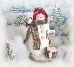 Snowman Figure Decoration Winter Snowman Doll by CharlotteStyle Christmas Items, Christmas Snowman, Winter Christmas, Christmas Ornaments, Snow Men, Make Happy, Vintage Buttons, Hang Tags, Party Favors