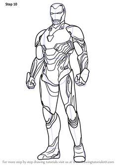 Paso a paso Cómo dibujar Iron Man de Avengers - Infinity War: DrawingTutorial . Avengers Coloring Pages, Marvel Coloring, Superhero Coloring Pages, Spiderman Coloring, Iron Man Kunst, Iron Man Art, Avengers Drawings, Drawing Superheroes, Iron Man Pictures
