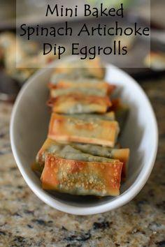 Mini Baked Spinach Artichoke Dip Eggrolls I The Well Floured Kitchen