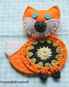 Cute crocheted and felt fox