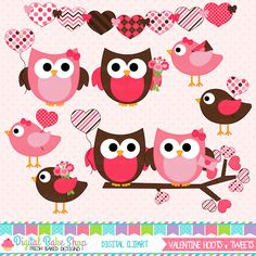 Valentine Hoots and Tweets Clipart - These graphics would make the perfect Owl Valentine craft or cards.