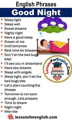 English Phrases - Good Night - Lessons For English English Sentences, English Idioms, English Phrases, Learn English Words, English Lessons, English Learning Spoken, Teaching English Grammar, English Language Learning, Essay Writing Skills