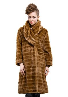 Florence Fashion/coffee faux mink fur with faux mink fur collar /long coat