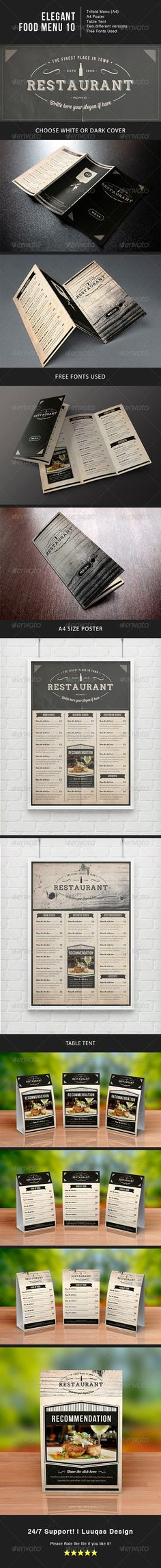 Elegant Food Menu 10 by luuqas Elegant food menu template for your restaurant. Features: Trifold menu Menu PosterTable tent Logo/Stamp included Very Easy Burger Restaurant, Restaurant Menu Design, Restaurant Identity, Tent Logo, Food Menu Template, Menu Templates, Print Templates, Chefs, Coffee Shop Menu