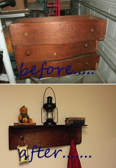 from broken antique dresser drawers to a shelf! pretty crafty!