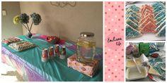 mesa de bebida e pequeno snack para festa de aniversário - fairy bread